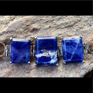 Jewelry - Sterling Silver Lapis Stone Bracelet.
